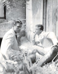 Wilbur Pippin, Paul Thek and Peter Harvey, 1956, Gelatin silver photo from original negative,  10 x 8 in. Watermill Center Collection.