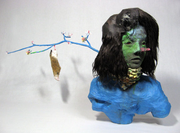 BLUE BUST - faux fur, paint, taxidermy bird eyes, cardboard, paper air-dry clay 18 x 30 x 12  2009