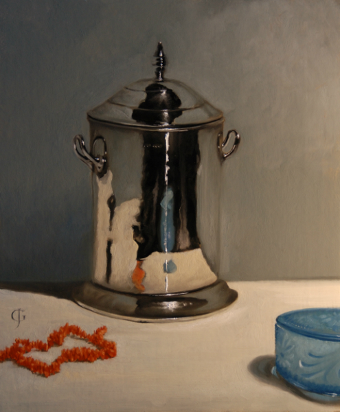 "James Gillick, ""Silver Pot, Coral Necklace, Blue Glass"""